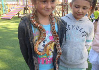 Kayleigh Louwrens kyk hoe die slangetjie om Miane Engelbrecht se nek rus. (M